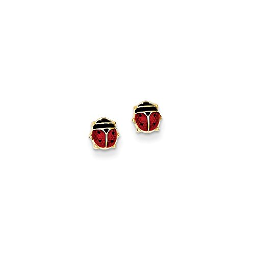 14kt Yellow Gold Enameled Ladybug Earrings ()