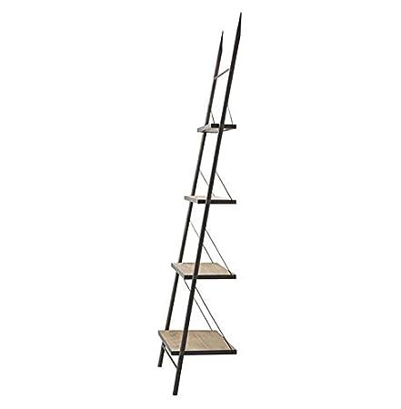 Branzi Industrial Loft Metal Wood Ladder Shelving Unit Amazoncouk