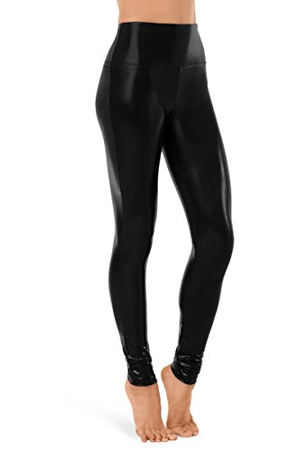 Balera Leggings Girls Pants For Dance Metallic Natural Rise Full Length Bottoms Black Adult Large from Balera