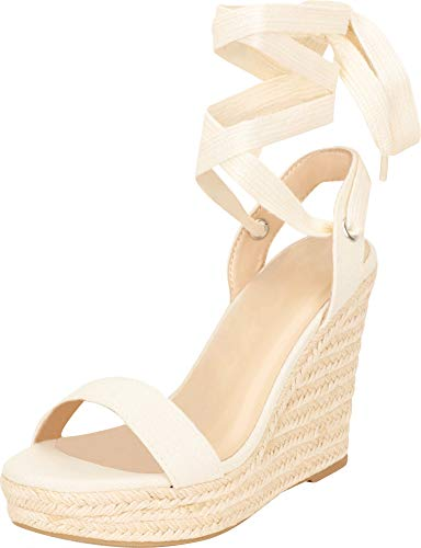 Cambridge Select Women's Retro 70s Crissscross Ankle Tie Chunky Espadrille Platform Wedge Sandal,8.5 B(M) US,Beige ()