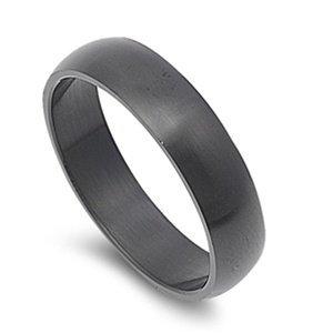 JewelryVolt Stainless Steel Ring Plain Color Wedding Matte Brushed Black IP Flat Fit Band (Black Matte 6mm 15)