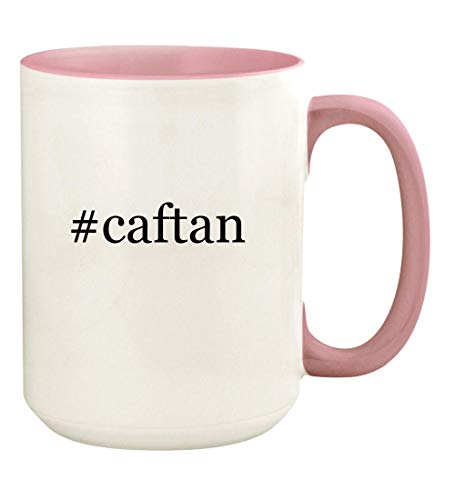 #caftan - 15oz Hashtag Ceramic Colored Handle and Inside Coffee Mug Cup, Pink