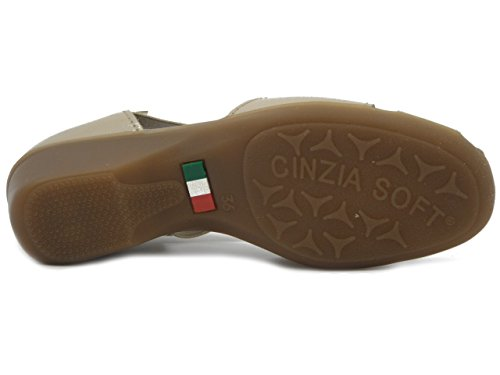 OSVALDO PERICOLI Cinzia Soft Scarpa/Sandalo in Pelle Lucida e Camoscio Sabbia, Zeppa 4cm, 8050X E17
