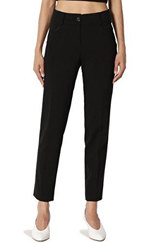 TheMogan Women's Mid Rise Slim Leg Ankle Trousers Suitable Stretch Pants Black S -