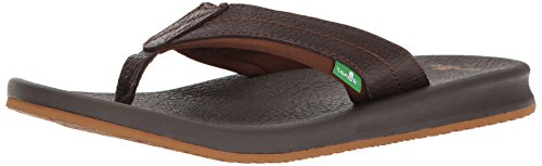 Sanuk Men's Brumeister Primo Flip Flop, Dark Brown, 8 M US