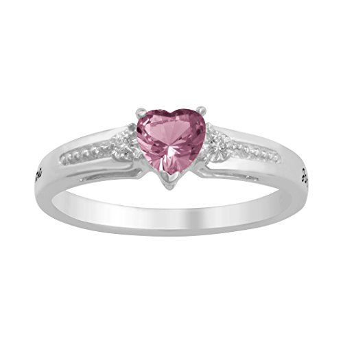 ArtCarved Core Love Genuine Pink Tourmaline Personalized Women's Ring, Sterling Silver, Size 7