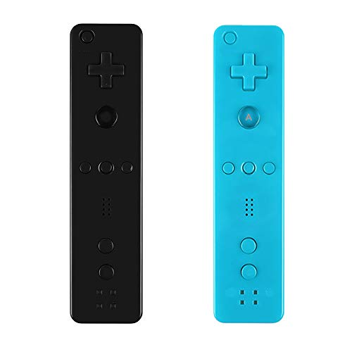Yosikr Remote Wireless Controller Compatible for Nintendo wii/wii u Console - with Silicone Case and Wrist Strap (2 Pack Blue and Black)