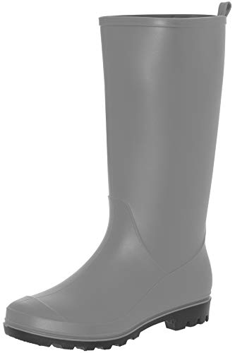Capelli New York Ladies Matte Solid Tall Rain Boot with Back Pull Loop Grey 8 ()