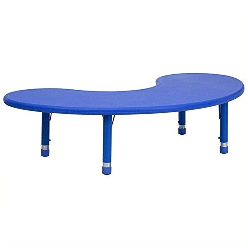 Flash Furniture Height Adjustable Half-Moon Blue Plastic Activity Table, 35 x (Childrens Kidney Shaped Activity Table)