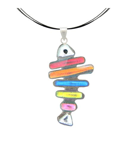 Sterling Silver Dichroic Glass Fish Bone Pendant Necklace on Stainless Steel Wire- 18