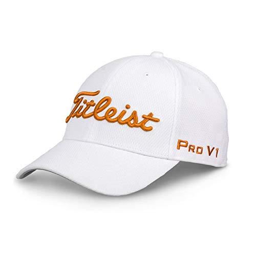 Tour Player - Titleist Men's Golf Cap (Sports Mesh, Players Deep Back, Tour Elite) (Tour Elite, White/Burnt Orange, M/L)
