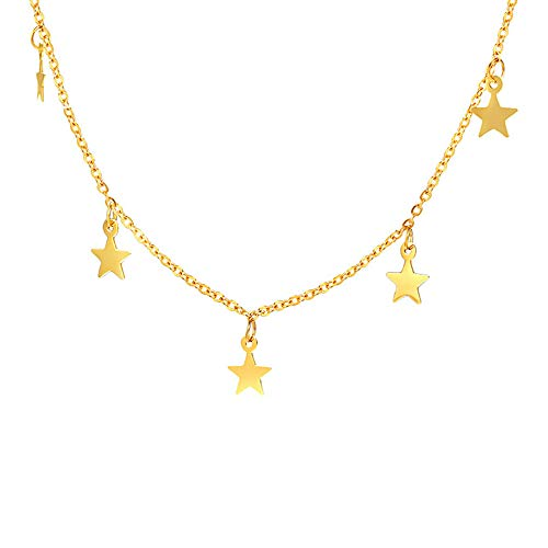 Star Moon Pendant Choker Necklace for Women Girls Stainless Steel Simple Small Stars Full Moon Round Circle Disk Coin Sequins Dangling Charms Chain Collar Chic Dainty Jewelry Gifts (Stars - Steel Stainless Choker
