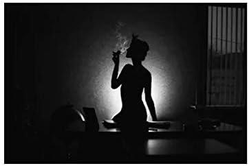 YIYEBAOFU DIY Pintar por números Pintura de baño Mujer fumando Cuadros Desnudos y Lienzo Pintura Sala de Estar Artista de Pared decoración del hogar40x50cm(Sin Marco)