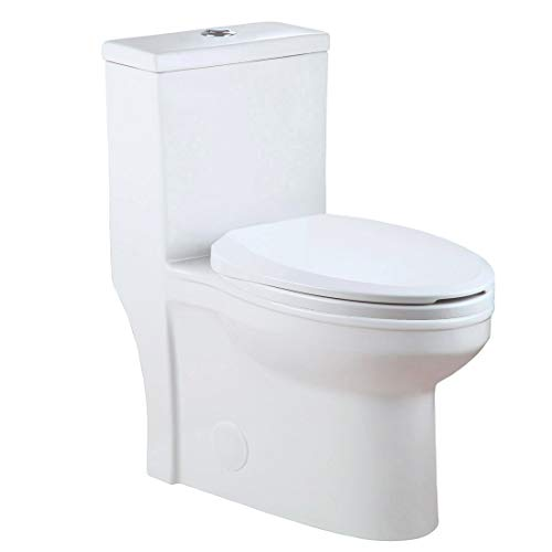 (Winzo WZ5059 Elongated One Piece Toilet, High Efficiency Powerful Dual Flush 1.0/1.6GPF, Durable Soft Closing Seat, Easy to Clean and Install Design White)