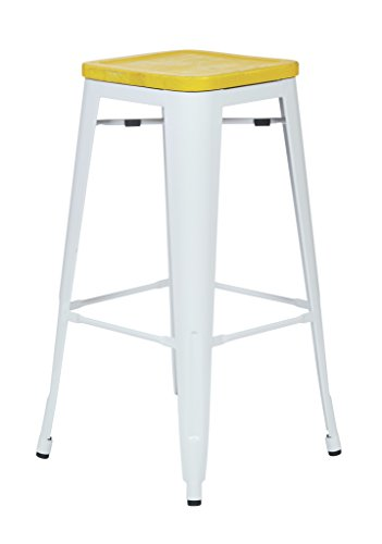 Office Star Bristow 30-Inch White Metal Frame Barstool with Vintage Wood Seat, Ash Yellow Stone, 2-Pack