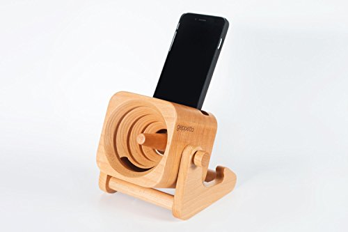 Geppetto - Phone Dock & Wood Speaker | Natural Sound Amplifier | Ideal for patios, offices and living room | Fits Iphone and Galaxy
