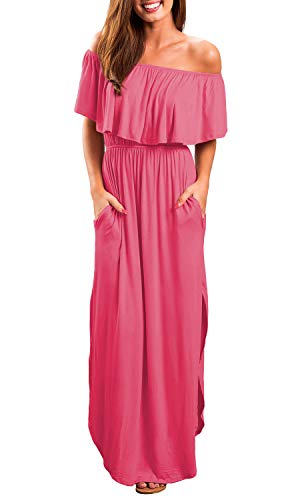 OYANUS Womens Off The Shoulder Ruffle Party Dresses Summer Casual Side Split Beach Long Maxi Dress with Pockets Rosered S ()
