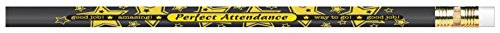 Moon 52108B Perfect Attendance Award Pencil, Assorted Colors (Pack of 12) ()