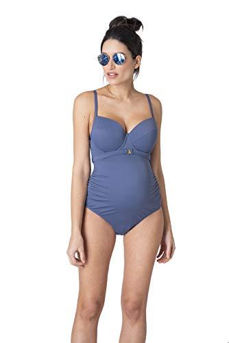 Seraphine Women's Slate Blue Supportive Maternity Swimming Costume Size -