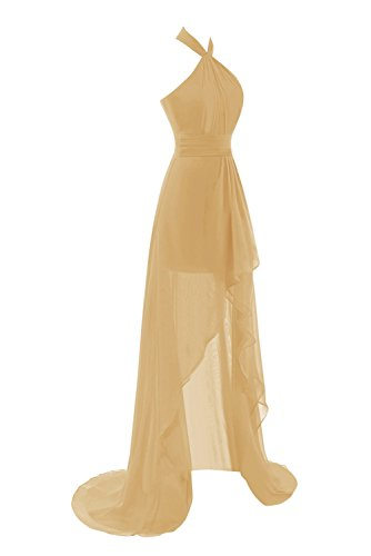 Dasior Women's Halter Backless High Low Chiffon Cocktail Bridesmaid Dress US12 Gold