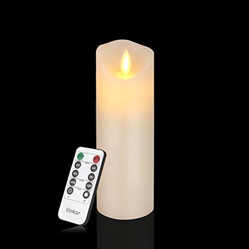 """Vinkor Flameless Candles Battery Operated Flickering Candles 2.2""""x6"""" Ivory Classic Real Wax Pillar With Moving LED Flame & 10-key Remote Control 2/4/6/ 8 Hours Timer"""