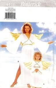 (UNCUT & OOP BUTTERICK 4116 MISSES' & CHILDREN'S ANGEL COSTUME SEWING PATTERN - ALL SIZES INCLUDED)