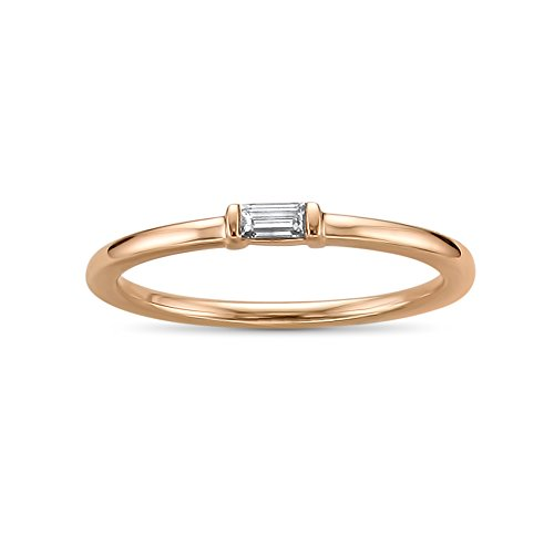14k Rose Gold Baguette Solitaire Diamond Promise Ring (1/10 cttw, I-J, SI2-I1), Size 8