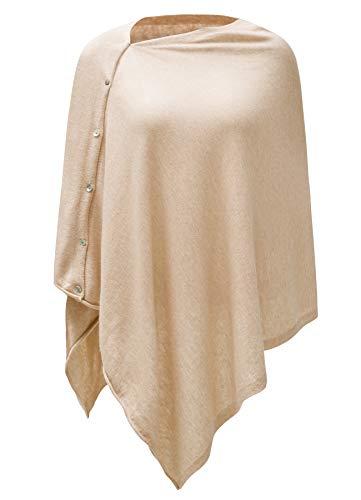 Womens Cashmere Versatile Button Poncho Sweater Lightweight Cape Wraps for Spring Summer Autumn Light Blush Pink 1-5