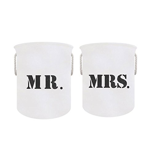 Mr and Mrs Decorative Collapsible Laundry Basket Hamper Set for Laundry Room Organizers--Perfect Wedding Gift Idea!!! (Mr. & Mrs. Set)