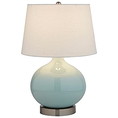 "Stone & Beam Cyan Ceramic Lamp, 20""H, With Bulb, White Shade - The curves and smoothness of this beautiful lamp will add a graceful touch to any room. With a linen shade, it combines modern with classic in a way that will easily blend with your existing style Ceramic and polished nickel base, metal hardware, white fabric shade Modern design with classic touches make this lamp blend with any room - lamps, bedroom-decor, bedroom - 313t7O3JyYL. SS400  -"