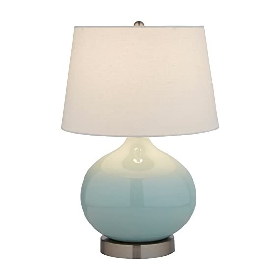 "Stone & Beam Cyan Ceramic Lamp, 20""H, With Bulb, White Shade - The curves and smoothness of this beautiful lamp will add a graceful touch to any room. With a linen shade, it combines modern with classic in a way that will easily blend with your existing style Ceramic and polished nickel base, metal hardware, white fabric shade Modern design with classic touches make this lamp blend with any room - lamps, bedroom-decor, bedroom - 313t7O3JyYL. SS570  -"