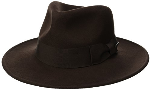Dorfman Pacific Indiana Jones Men's Water Repellent Wool Felt Fedora, Brown, Large Dorfman Pacific Wool Hat