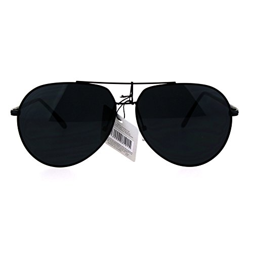 Trendy Oversize Metal Rim Pilots Sunglasses All - Rim Aviators Black