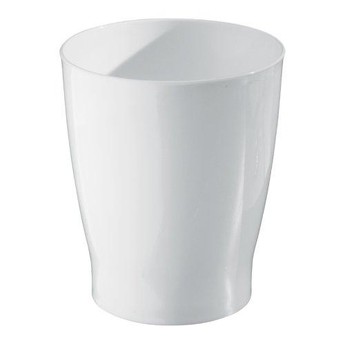 InterDesign Franklin Wastebasket Trash Can for Bathroom, Kitchen, Office - White