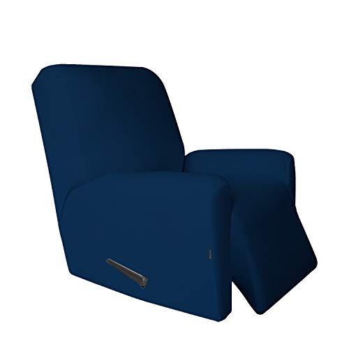 Recliner Stretch Sofa Slipcover,Sofa Cover Furniture Protector Couch Micro Fiber Super Soft Sturdy with Elastic Bottom Pets,Kids,Children,Dog,Cat(Recliner,Navy (Best Recliner For Large Person)
