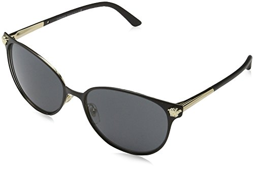 Versace Women's VE2168 Matte Black/Pale Gold/Grey - Eye Versace Cat Sunglasses