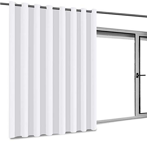 (Patio Door White Curtain Room Divider Grommet Top Curtain Panel, Room Darkening Curtains Screen Partition for Shared Bedroom, 8.3ft Wide x 7ft Tall 1 Panel Pure White)