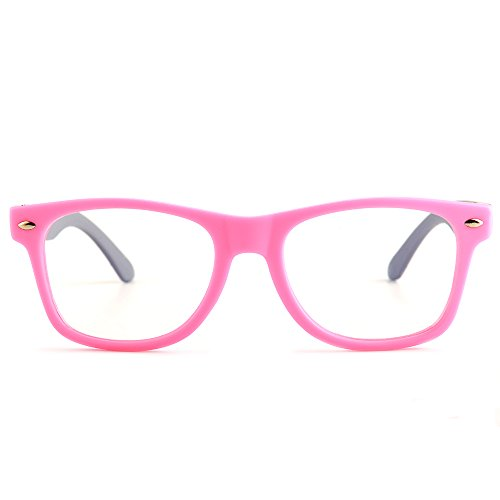 Gudzws Kids Anti Blue Light Glasses Rectangle Plastic Frame Protect Eyesight from Digital Display Computer TV Boys Girls Child Unisex Pink (Suitable for 5-12 Years Old) by Gudzws (Image #2)