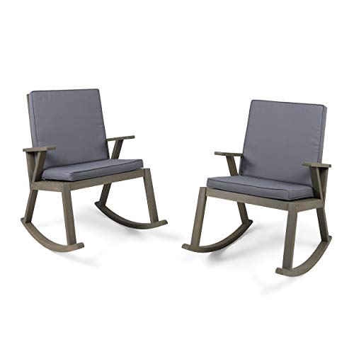 Christopher Knight Home Champlain Outdoor Modern Acacia Wood Rocking Chairs with Water-Resistant Cushions (Set of 2) by Grey Finish + Dark Grey