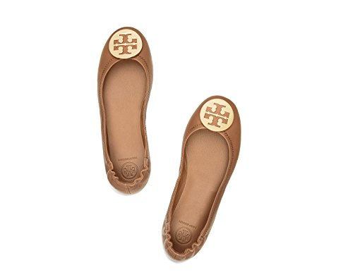 Tory Burch Minnie Travel Leather Ballet Flat - Size 7, Royal Tan/Gold - Tory Burch Ballerina Flats