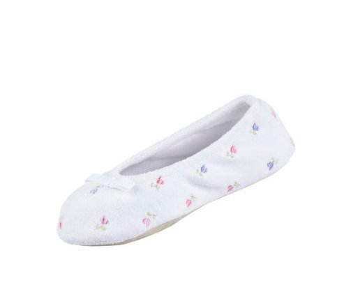 isotoner Signature Womens Embroidered Floral Terry Ballerina Slippers , Heather Gray, Large