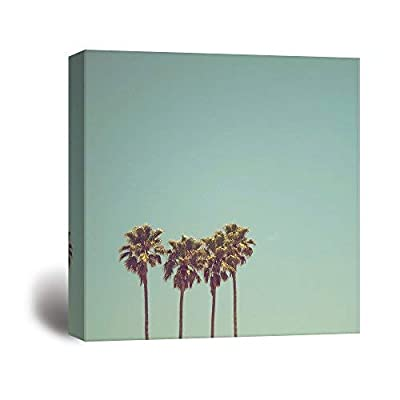 Square Canvas Wall Art - Retro Style Tall Palm Trees in California - Giclee Print Gallery Wrap Modern Home Art Ready to Hang - 24x24 inches