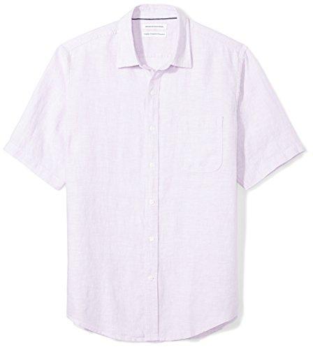 Amazon Essentials Men's Regular-Fit Short-Sleeve Linen Shirt, Lavender, Medium