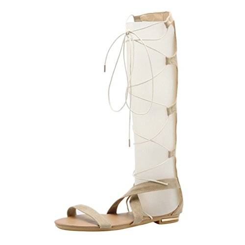 YOUJIA Womens Cut Out Gladiator Sandals Flat Knee Boots Strappy Lace Up Summer Shoes #4 Beige sHlDQj7gTJ