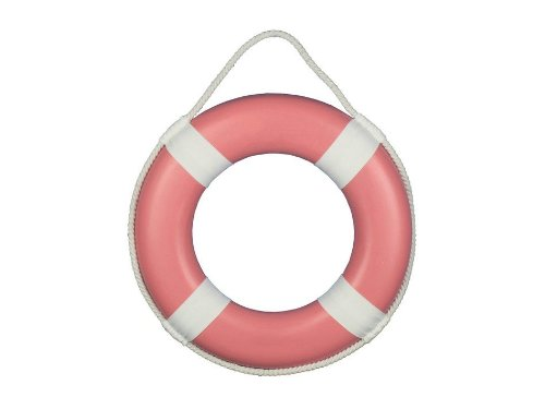 Pink Sailboat - Hampton Nautical  Pink Painted Lifering with White Bands, 15