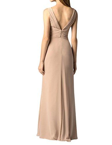 Partykleider Chiffon V mia Festlichkleider Abendkleider Etuikleider Brautjungfernkleider Ausschnitt Geraft Lang Promkleider La Lila Brau Xw1BqRq0