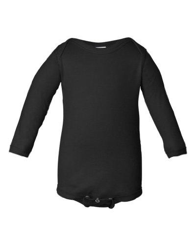 [Rabbit Skins Infant Long Sleeve Lap Shoulder Creeper Bodysuit (Black) (18 Months)] (Child Black Skin Suit)