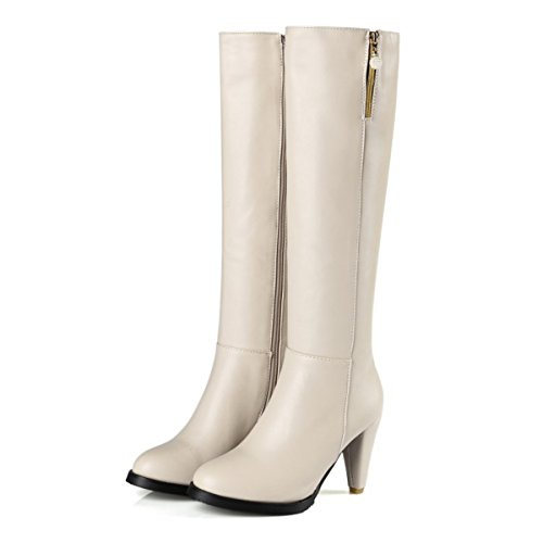 HAPPYLIVE SHOPPING Womens Trendy PU Leather Winter Snow Heavy Thick Long Plush Lining Warm Thigh High Boots Sexy Zipper Slip on Mid Goblet Heel Over The Knee Knight Boots Apricot Rbtpy5dsve