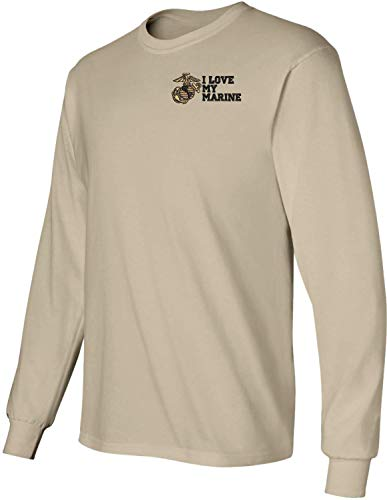 I Love My Marine U.S. Marine Corps Embroidered Long Sleeve T-Shirt Tan