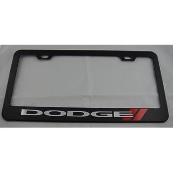 dodge black license plate frame with cap - Dodge License Plate Frame